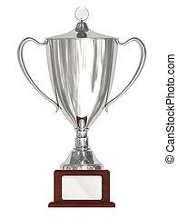 trophée, piédestal, bois, tasse argentée