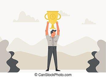 trophée, plat, champion, sien, business, tasse, sur, reussite, illustration, gagnant, victoire, tenue, homme affaires, célébrer, head., design.