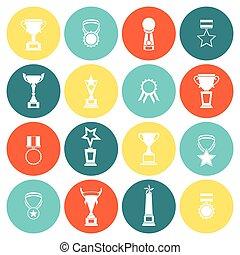 trophée, plat, ensemble, icônes