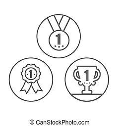 trophée, récompense, ruban, médaille, ensemble, icône
