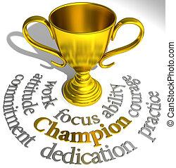 trophée, reussite, champion, mots, enjôleur