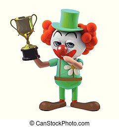 trophée, rigolote, fou, tasse or, caractère, clown, récompense, tenue, dessin animé, 3d