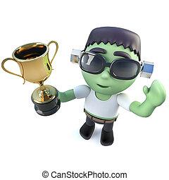 trophée, rigolote, monstre, tasse or, halloween, récompense, tenue, frankenstein, 3d, dessin animé, prix