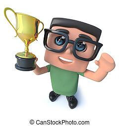 trophée, rigolote, prix, tasse or, caractère, récompense, nerd, informatique, tenue, dessin animé, triomphe, 3d