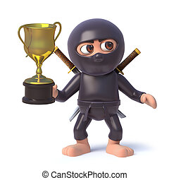 trophée, rigolote, tasse or, guerrier, caractère, récompense, tenue, ninja, assassin, dessin animé, 3d