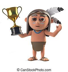 trophée, rigolote, tasse or, récompense, indien amérique, tenue, indigène, dessin animé, 3d