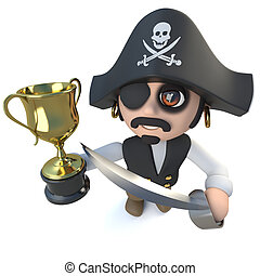 trophée, rigolote, tasse or, réussi, récompense, caractère, dessin animé, winner!, tenue, capitaine, pirate, 3d
