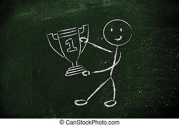 trophée, rigolote, une, caractère, nombre, enjôleur, tasses