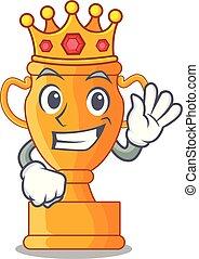 trophée, roi, doré, tasse, isolé, mascotte