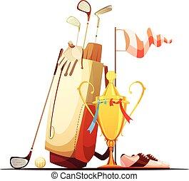 trophée, sac, golf, retro, icône