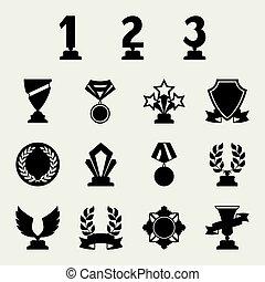 trophée, set., récompenses, icônes