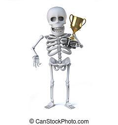 trophée, squelette, tasse or, récompense, gagné, a, 3d