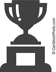 trophée, tasse, gagnant, illustration, arrière-plan., vecteur, noir, blanc, icône