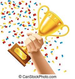 trophée, tasse, gagnant, récompense, possession main