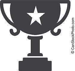 trophée, tasse, illustration, arrière-plan., vecteur, noir, blanc, icône