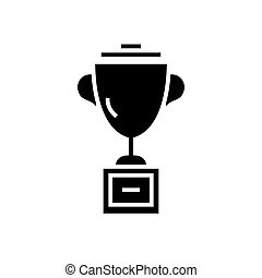 trophée, tasse, illustration, isolé, signe, vecteur, arrière-plan noir, icône