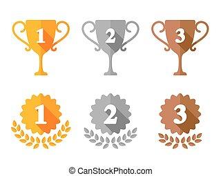 trophée, tasse, médailles, récompense, icônes