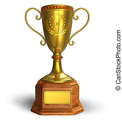 trophée, tasse or