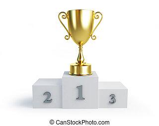 trophée, tasse or, vainqueurs, fond, piédestal, blanc