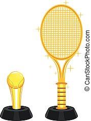 trophée, tennis, pelouse, balle, or