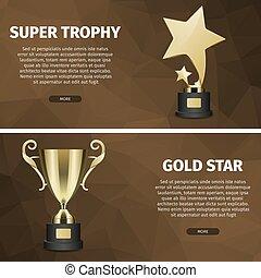 trophée, toile, étoile, or, vecteur, bannières, super