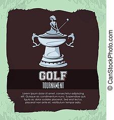 trophée, tournoi, golf, argent