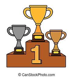 trophée, troisième, deuxième endroit, tasses, premier