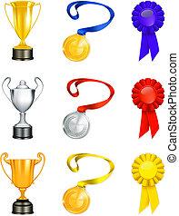 trophée, vecteur, ensemble, icône