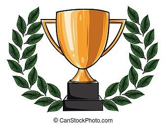 trophée, vecteur, tasses, illustration, médailles