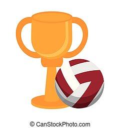 trophée, voleyball, championnat, tasse