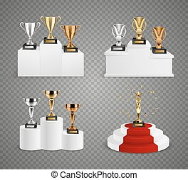 Trophies On Pedestals Realistic Design Set