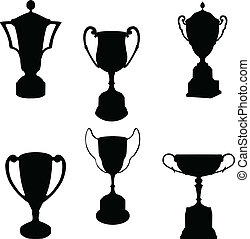 Trophies silhouettes collection - vector