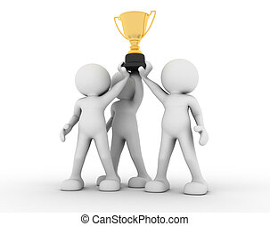 3d human icon holding golden trophy