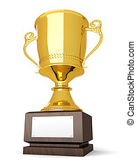 Trophy - A golden trophy with a blank plate for custom text....