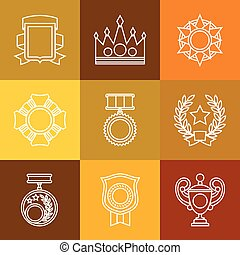 Trophy and awards icons set in linear style.