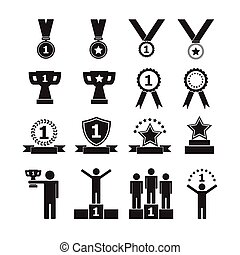 Trophy and awards icons, vector set