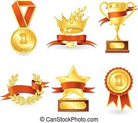 Trophy and prize emblem - Golden trophy and prize emblem set...