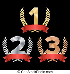 Trophy Award Set Vector. Figures 1, 2, 3 One, Two, Three In A Realistic Gold Silver Bronze Laurel Wreath And Red Ribbon. Competition Game Concept. Isolated On Black. Illustration