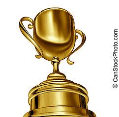 Trophy Award - Golden trophy cup award in a dynamic forced...