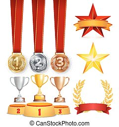 Trophy Awards Cups, Golden Laurel Wreath With Red Ribbon And Gold Shield. Realistic Golden, Silver, Bronze Achievement Medals. Sports Placement Podium. Isolated Vector Illustration