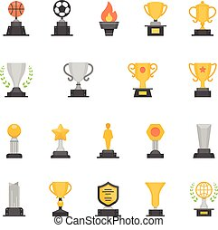 Trophy Awards vector color icons