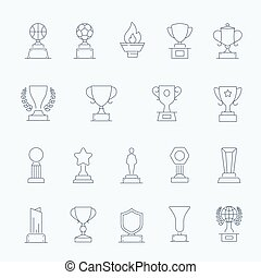 Trophy Awards vector outline stroke
