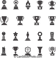 Trophy Awards vector solid icons