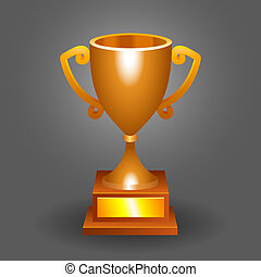Trophy bronze cup on a dark background for your designs.