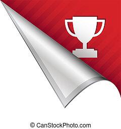 Trophy corner tab - Trophy or award icon on vector peeled...
