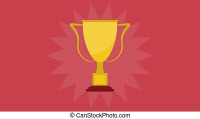 Trophy cuo symbol HD animation - Trophy cup over red...