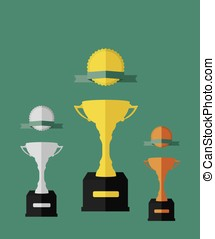 Trophy cup and medals illustration