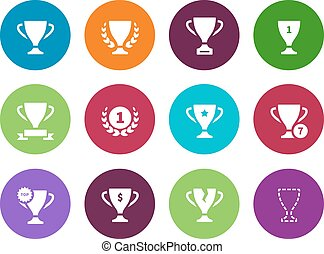 Trophy cup circle icons on white background.