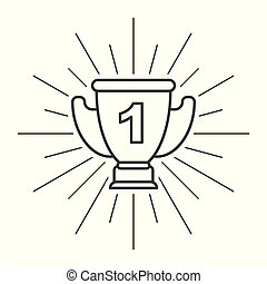 Trophy Cup Flat Icon with unit on white background