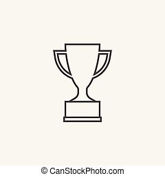 Trophy cup flat vector icon in line style. Simple winner symbol. Black illustration isolated on white background.